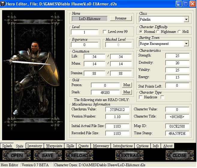 Название : Hero Editor for editing Diablo II LOD and NOX Версия : 0.90 Лице